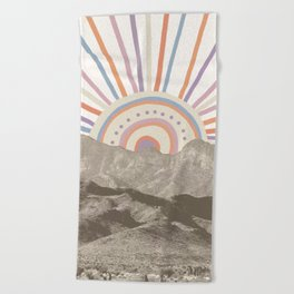 Summerlin Mountain Up // Abstract Vintage Mountains Summer Sun Surf Beach Vibe Drawing Happy Wall Ha Beach Towel