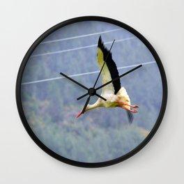 Stork In Flight Wall Clock