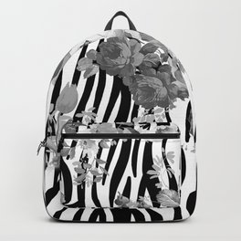 Vintage elegant black white floral zebra animal print collage Backpack