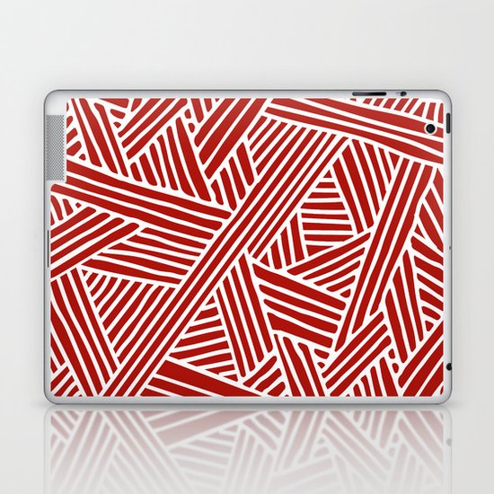 Abstract Navy Red & White Lines and Triangles Pattern by simplicity_of_live