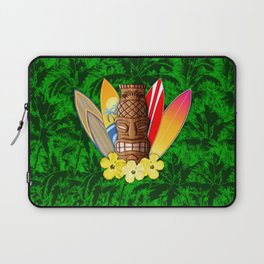 Surfboards And Tiki Mask Palm Trees Laptop Sleeve