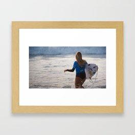 Alana Blanchard, Surfing during world tour of surf Framed Art Print