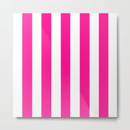 Deep pink -  solid color - white vertical lines pattern Metal Print