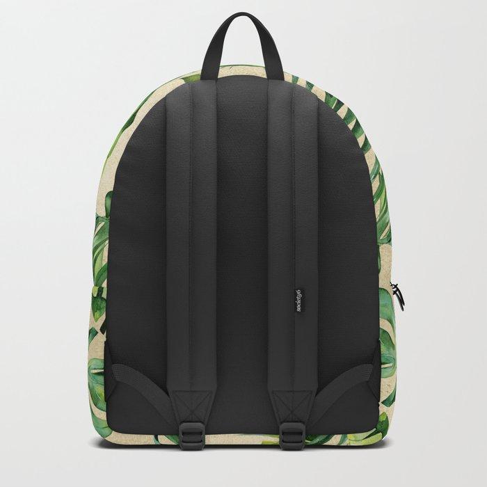 Green Tropics Leaves on Linen Backpack
