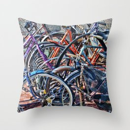 Lots of colorfull bycicles Throw Pillow