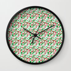 Circle Pattern Holiday Red Green and White Wall Clock