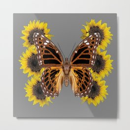 BROWN BUTTERFLY & YELLOW SUNFLOWERS Metal Print