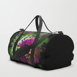 Vibrant abstract pink flower on black Duffle Bag