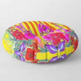 COLORFUL FANTASY PINK FLORAL PURPLE BUTTERFLIES GARDE Floor Pillow