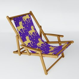 Purple and Gold Unicorn and Stars Pattern Sling Chair