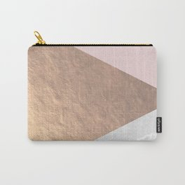 Geo tri - rose gold & concrete Carry-All Pouch