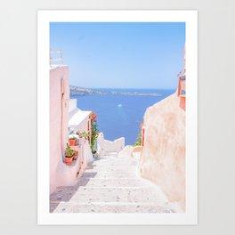 Santorini Greece Mamma Mia Pink Street Art Print