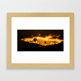 Exotic and magnificent afternoon at Sunset time and hot air balloon on dark and gold fuzzy sky Framed Art Print