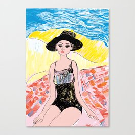 Woman on the beach 6 Canvas Print