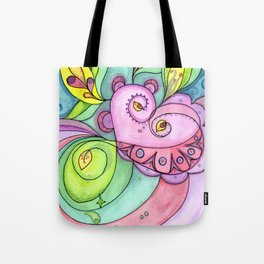 Swirl Heart Face Tote Bag