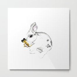 Some'bunny' Loves You (Single Bunny/White) Metal Print