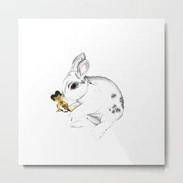 Some'bunny' Loves You (Single Bunny/White) Metal Print