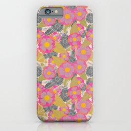 Floating Flowers in Purple and Gray iPhone Case
