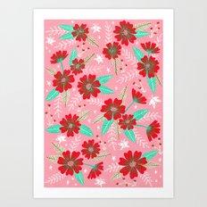 Floral Moths - Pink Art Print