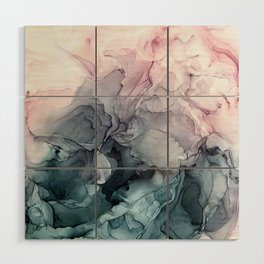 Blush and Payne's Grey Flowing Abstract Painting Wood Wall Art