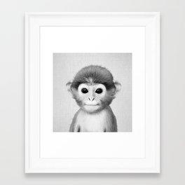 Baby Monkey - Black & White Framed Art Print