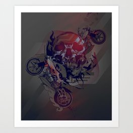 Until One of Us Starts Raving - Skull and Motorbikes Art Print