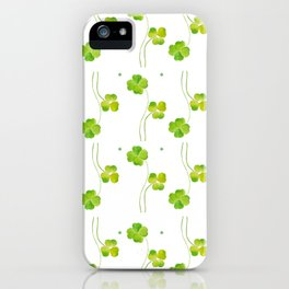 green clover leaf pattern watercolor iPhone Case