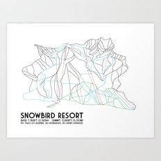 Snowbird, UT - Minimalist Trail Map Art Print