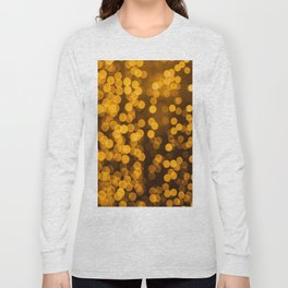 Gold Glitter Sparkle Bokeh Blurred Lights Shimmer Shiny Dots Spots Circles Out Of Focus Long Sleeve T-shirt