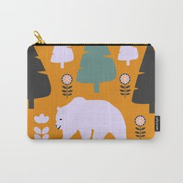 Bear walking between flowers and pine trees Carry-All Pouch