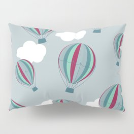 Hot air balloons and clouds - grayish purple Pillow Sham