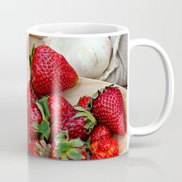 Fresh Strawberries On Wooden Plates And Garlic Bulbs Coffee Mug