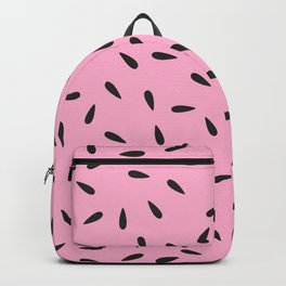 Watermelon Seeds on Pastel Pink Background Backpack