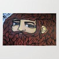 beard Area & Throw Rugs featuring beard by Deerabigale
