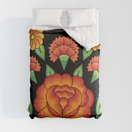 Mexican Folk Pattern – Tehuantepec Huipil flower embroidery Comforters