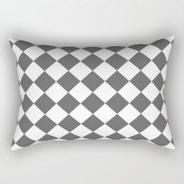 Diamonds - White and Dark Gray Rectangular Pillow