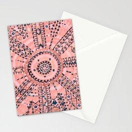 Light Pink Wildflower Sunshine I // 18th Century Colorful Pinkish Dusty Blue Gray Positive Pattern Stationery Cards
