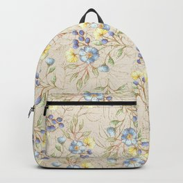 Vintage ivory linen blue yellow gold floral pattern Backpack