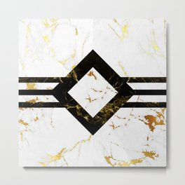 Abstract square golden marble pattern Metal Print