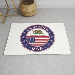 California, California t-shirt, California sticker, circle, California flag, white bg Rug