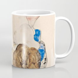 Egon Schiele - Nude with Blue Stockings, Bending Forward Coffee Mug