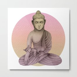 Buddha with cat 6 Metal Print