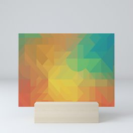 Geometric Pattern // Intricate Detailed Shapes // Gradient Colors (Orange, Yellow, Teal, Green, Red) Mini Art Print