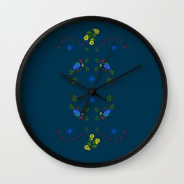 Partridges and Pears on Teal Wall Clock