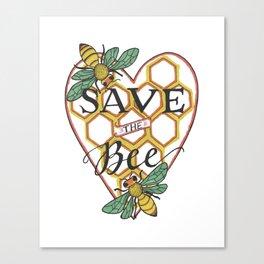Save the Bee   Honeycomb Heart Honeybees Canvas Print