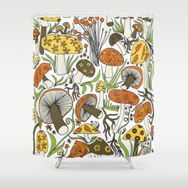 Hand-drawn Mushrooms Shower Curtain