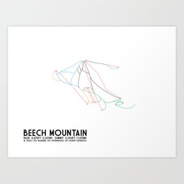 Beech Mountain, NC - Minimalist Winter Trail Art Art Print