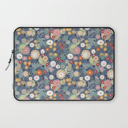 Colorful flowers on a denim background. Laptop Sleeve