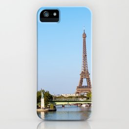 Statue of Liberty and Eiffel tower - Paris, France iPhone Case