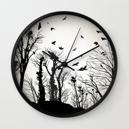 crows roost at twilight Wall Clock